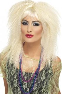 80er-Popstarperücke Gekräuselte Damenperücke blond