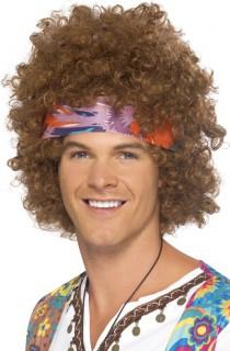 Afro-Perücke Hippie-Herrenperücke mit Locken und Kopfband braun-bunt