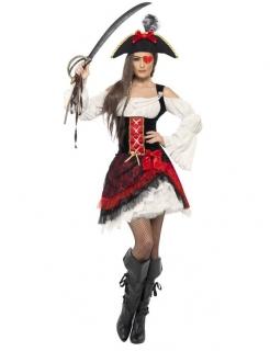Edles Seeräuberin Damenkostüm rot-weiss-schwarz