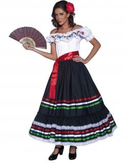 Spanierin Mexikanerin Flamenco-Kleid Damenkostüm weiss-bunt