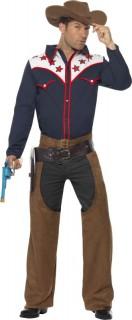 Cowboy-Herrenkostüm Wild West in Dunkelblau und Braun