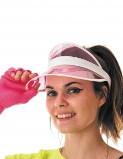 Poker-Visier Pokerspielerinnen-Kopfschmuck weiss-rosa
