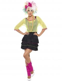 80er Popstar Disco Damenkostüm schwarz-gelb-pink