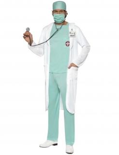 Arzt-Kostüm Berufskostüm für Fasching blau-weiss