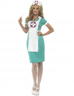 Elegante Krankenschwester Damen-Kostüm türkis-weiss-rot