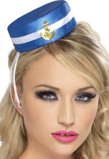 Matrosinnen-Hut Damen-Minihut auf Haarklammer blau-weiss-gold