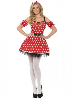 Mäuschen-Kostüm für Damen rot-weiß