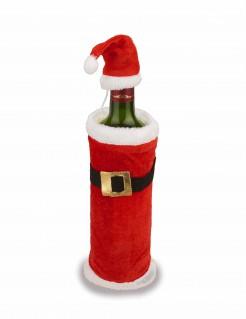 Weihnachtsdeko Flaschen-Deko Mantel und Mütze rot-weiss