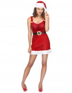 Sexy Weihnachtskostüm für Damen Weihnachtsfrau mit Gürtel