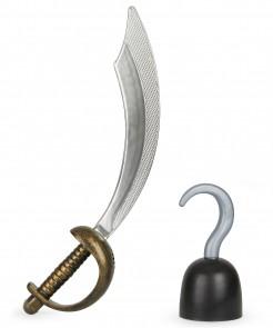 Piraten-Accessoire-Set für Kinder Säbel und Haken 2-teilig gold-silber-schwarz