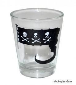 Piraten-Shotglas Piratenparty-Tischdeko transparent-schwarz