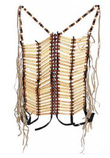 Indianer-Perlengewand Indianer-Oberteil Schürze braun-beige