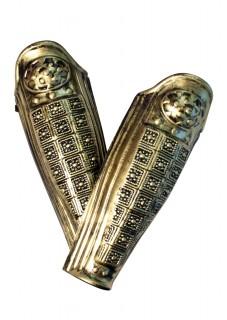 Gladiatoren-Beinschützer Römerkostüm-Accessoire 2 Stück gold 45cm