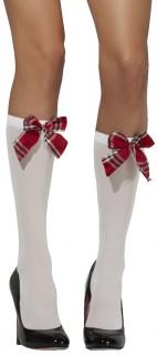 Schulmädchen-Strümpfe Lange Damensocken mit Schleife weiss-rot