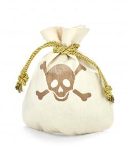 Piraten-Beutel mit Totenschädel-Motiv Piraten-Accessoire cremefarben-gold 23x19cm