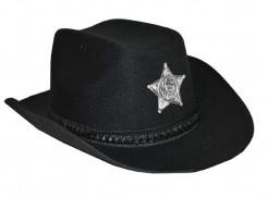 Cowboy-Hut mit Sheriff-Stern Sheriffhut schwarz-silber