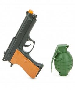 Pistole und Granate Soldaten-Accessoire-Set 2-teilig grün-schwarz-orange