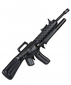 Aufblasbares Gewehr Soldatenwaffe Gangsteraccessoire Maschinengewehr schwarz-grau 115cm