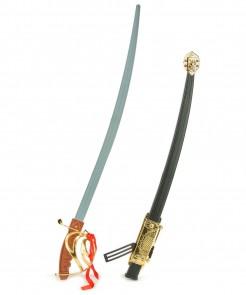 Kampfsäbel mit Scheide Piratenwaffe bunt 68cm