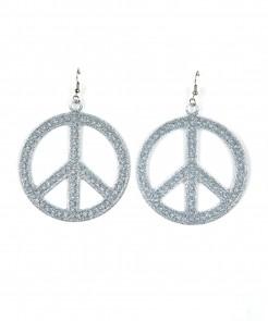 Peace-Ohrringe Hippieschmuck mit Glitzereffekt 2 Stück silber 7cm