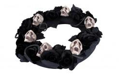 Totenkopf-Trauerkranz Halloweendeko 38cm
