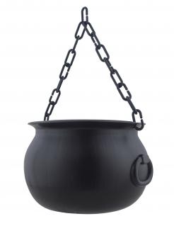 Magischer Hexenkessel Hängedeko mit Kette schwarz 14cm