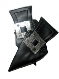 Schuhüberzieher Hexenschuhe für Erwachsene Kostümaccessoire schwarz-silber