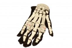 Halloween Handschuhe Skelett mit leuchtenden Ringen Kostümaccessoireweiss-schwarz