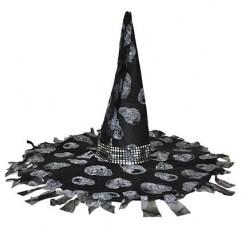 Auffallender Hexenhut schwarz-grau