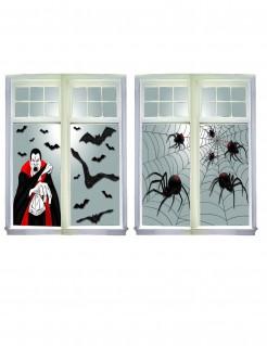 Unheimliche Halloween Fenster-Dekoration 2-teilig 76 x 120 cm