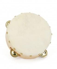 Tamburin Musikinstrument beige-cremefarben 16cm