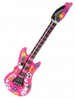 Aufblasbare Hippie-Gitarre pink-bunt