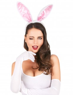 Hasenohren Haarreif Bunny Accessoire hellrosa-dunkelrosa 22cm