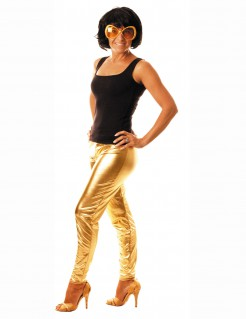 Glanz Leggings Strumpfhosen gold