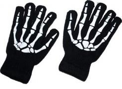 Halloween Kostümaccessoire Skelett-Handschuheschwarz-weiss