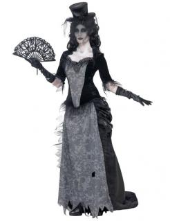 Geister-Braut-Kostüm für Damen Schwarze Witwe Halloween Damenkostüm schwarz-grau