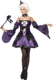 Barock Hexe Masquerade Damenkostüm lila-schwarz