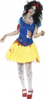 Zombie Schneewittchen Halloween Damenkostüm blau-gelb-rot