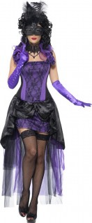 Barock Gräfin Vampirin Damenkostüm schwarz-lila