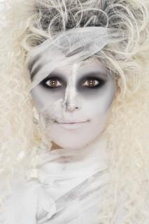 Schaurige Mumie Make-Up Set weiss-schwarz