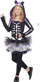 Skelly Cat Halloween Kinderkostüm lila-schwarz