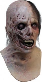 Halb verbrannter Zombie Vollmaske mit Brustteil hautfarben-schwarz-rot