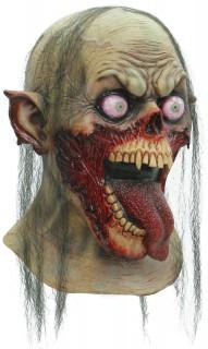 Abscheuliche Zombie-Maske Halloween grünlich-rot