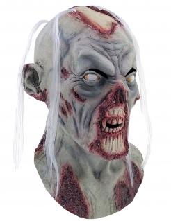 Untoten-Maske mit Haaren Halloween Kostümaccessoire grau-rot