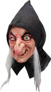 Latex-Maske Hexe Halloween Kostümaccessoire  schwarz-weiss-hautfarben