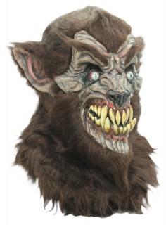 Halloween Latex-Maske Werwolf Kostümaccessoire braun-gelb