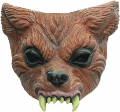 Latex-Halbmaske Werwolf Halloween-Maske braun