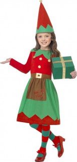 Weihnachtliches Elfen-Mädchenkostüm Wichtel rot-grün