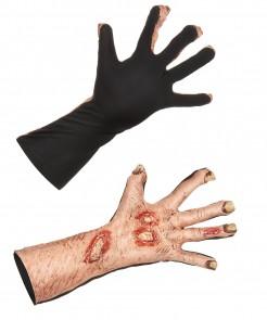 Gruselige Zombie-Handschuhe aus Latex Kostümzubehör Halloween schwarz-hautfarben-rot