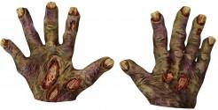 Kurze Latex-Handschuhe Zombie-Monster mit gelben Nägeln Kostümaccesssoire grün-gelb
